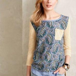 Anthropologie Farrago tshirt blue paisley print XS